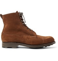 Edward Green Galway Cap Toe Suede Boots Chocolate