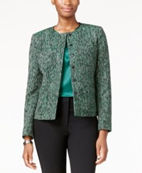 Kasper Snap Front Tweed Blazer Evergreen