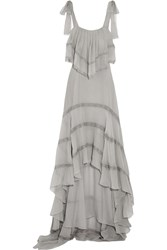 Philosophy Ruffled Lace Paneled Silk Chiffon Dress Gray