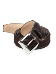 Sutor Mantellassi Truman Veloucal Leather And Suede Belt Brown