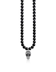 Thomas Sabo Men's Necklaces Blackened 925 Sterling Silver And Obsidian Beads Power Necklace Maori Skull Necklace W Zirconia Pave
