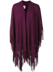 Magaschoni Fringed Poncho Pink Purple