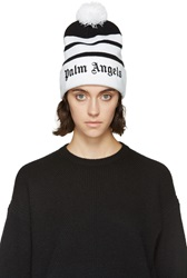 Palm Angels Black And White Striped Mitchell And Ness Edition Beanie