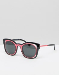 Emporio Armani Cut Out Cat Eye Sunglasses With Contrast Pink Black