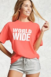Forever 21 Active World Wide Graphic Tee Neon Pink White