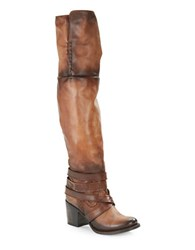 Freebird Rodeo Leather Crossed Strap Boots Cognac