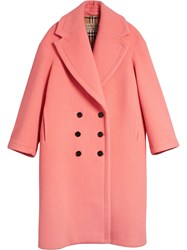 Burberry Double Faced Wool Cashmere Cocoon Coat Pink And Purple