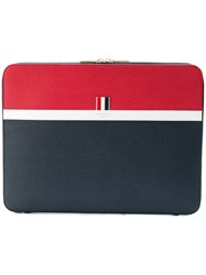 Thom Browne Color Blocked Leather Document Holder Blue