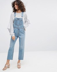 Evidnt Crop Leg Overalls Blue