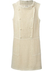 Chanel Vintage Knitted Shift Dress Nude And Neutrals
