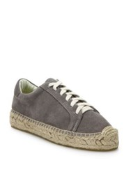 Soludos Canvas Lace Up Espadrille Platform Sneakers Dove Grey