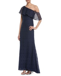Carmen Marc Valvo One Shoulder Popover Lace Gown Midnite