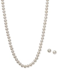 Macy's White Cultured Freshwater Pearl 6Mm Necklace And Matching Stud 7 1 2Mm Earrings Set In Sterling Silver
