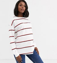 Asos Design Maternity Long Sleeve Top With Cuff Detail In Stripe Multi