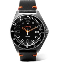 Bamford Watch Department Mayfair Brushed Stainless Steel And Leather Black