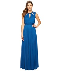 Adrianna Papell Shirred Stretch Tulle Dress With Beaded Necklace Bodice Cut Outs Sapphire Women's Dress Blue