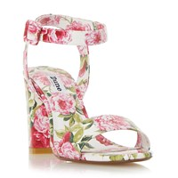 Dune Marygold Peony Print High Heel Sandals White