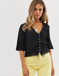 Superdry Button Through Woven Top With Lace Trim Black