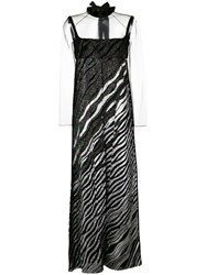 Fendi Contrast Maxi Dress Women Silk Mink Fur Polyamide Polyester 42 Black