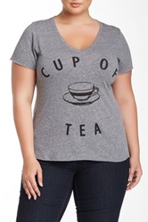 Signorelli Cup Of Tea V Neck Tee Plus Size Gray