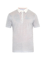 120 Lino Polka Dot Print Polo Top