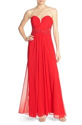 Xscape Evenings Women's Xscape Embellished Mesh Gown Red