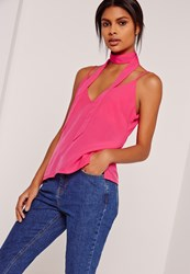 Missguided Neck Scarf Cami Top Pink Pink