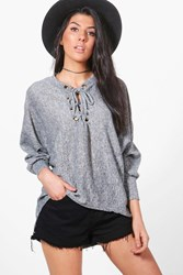 Boohoo Lace Up Batwing Jumper Grey