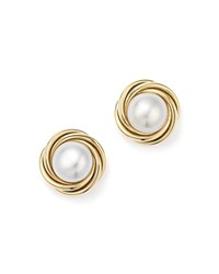 Bloomingdale's 14K Yellow Gold Knot Stud Earrings With Cultured Freshwater Pearls
