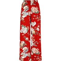 River Island Womens Red Floral Wide Leg High Waisted Trousers