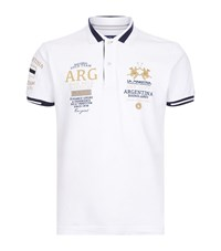 La Martina Slim Fit Pique Polo Shirt Male White
