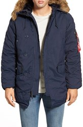 Men's Alpha Industries 'Altitude' Water Resistant Oxford Nylon Parka With Faux Fur Trim Replica Blue
