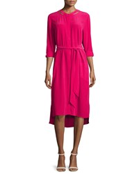 Go Silk Long Sleeve Belted Silk Shirtdress Women's Azalea