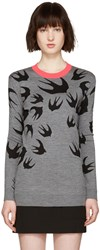 Mcq By Alexander Mcqueen Grey Jacquard Swallows Pullover