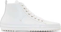 Cnc Costume National White Leather High Top Sneakers