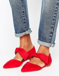 Lost Ink Bow Tie Point Flat Shoes Red