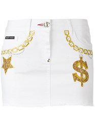 Philipp Plein Embroidered Denim Mini Skirt White