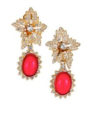 Kenneth Jay Lane Shimmering Flower Clip Earrings Gold Ruby