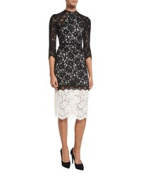 Alexis Whitney Bicolor Lace Midi Dress Black White