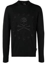 Philipp Plein Stars Skull Slim Fit Sweater Black