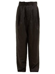 Christophe Lemaire Wide Leg Belted Trousers Black