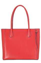 Lodis Cecily Leather Tote Coral Coral Turquoise