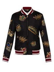Dolce And Gabbana Crown Print Silk Bomber Jacket Black Multi