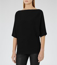 Reiss Olympia Womens Knitted Batwing Sleeve Top In Black