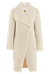 Velvet Faux Shearling Coat White