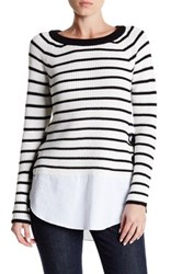 Cable And Gauge Stripe Lace Up Sweater Beige