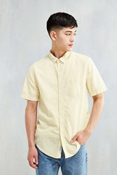 Cpo Striped Seersucker Short Sleeve Button Down Shirt Yellow