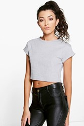 Boohoo Roll Sleeve Crop Cotton T Shirt Grey Marl