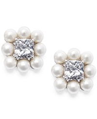Eliot Danori Silver Tone Glass Pearl And Crystal Stud Earrings