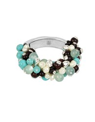 Robert Lee Morris Mosaic 5 7Mm Round Pearl And Semi Precious Turquoise Mixed Beaded Stretch Bracelet Blue